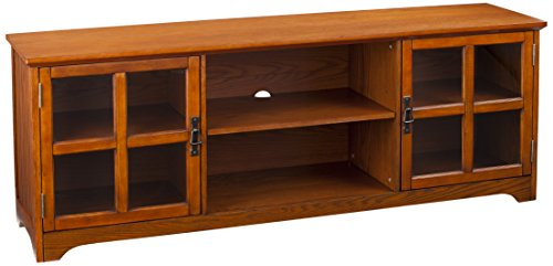 Southern Enterprises Mission Oak Television Stand - Antique Bronze Finish - Windowpane Style Cabinets