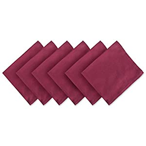 "DII 100% Cotton Cloth Napkins, Oversized 20x20"" Dinner Napkins, For Basic Everyday Use, Banquets, Weddings, Events, or Family Gatherings - Set of 6, Wine Red"