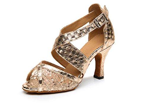 JSHOE Salsa De Lentejuelas Sexy Para Mujer Zapatos De Baile Jazz Salón De Baile Latino Tango Zapatos De Baile Zapatos De Tacón Alto,Goldheeled8CM-UK3/EU33/Our34 Goldheeled8cm