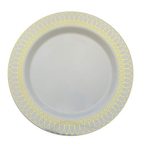 Design Gold Oval (14 oz Gold Ovals Design Soup Premium Plastic Wedding Bowls (40 Pack) China-Like)