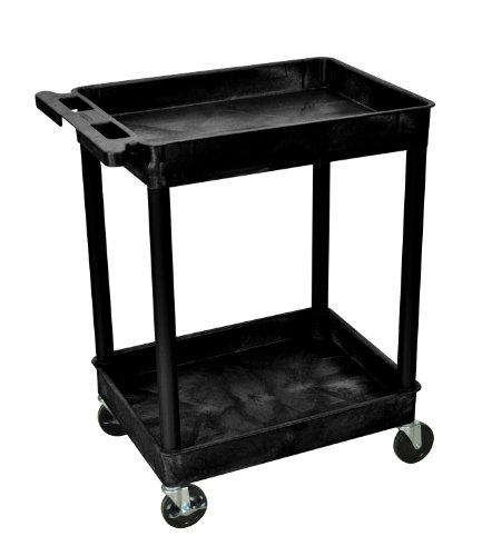 Luxor 2 Shelf Rolling Utility Cart w/ Heavy Duty Casters - Black ()