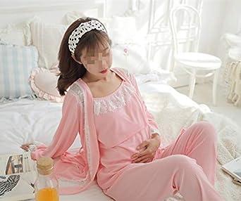Dame 3 Pi/èces Allaitement Grossesse Chemise de Nuit Doux lallaitement Homewear Femmes Maternit/é Pyjamas Ensemble de Nuit