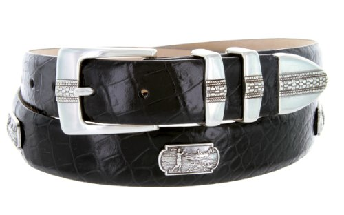 Scottsdale Golf - Men's Italian Calfskin Designer Dress Belt with Golf Conchos (50 Alligator Black)