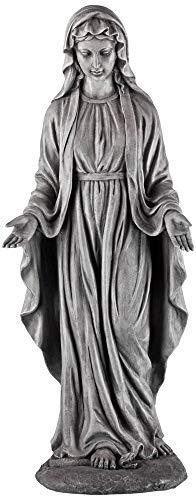"John Timberland Virgin Mary Gray Stone 29"" High Outdoor Statue"