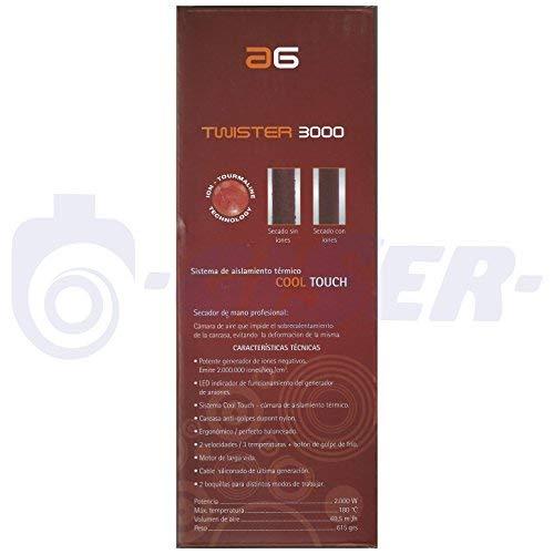 Asuer Group AG Twister 3000 Ion 2000W - Secador profesional compacto iónico turmalina cerámica, color negro | 2.000.000 iones/seg/cm³ | Volumen de aire 69,5 ...
