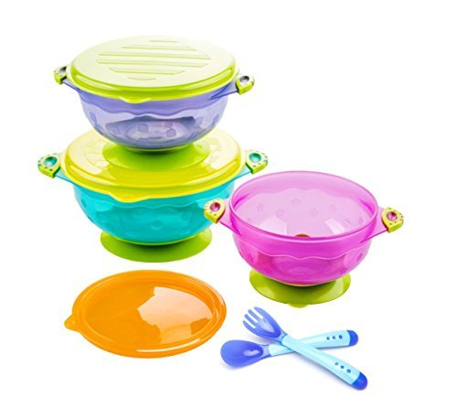 Stay Put 3 Sizes Suction Bowl and Hot Safety Fork and Spoon Set, Snap Tight Lids, FDA Approved and BPA-Free, Microwaveable