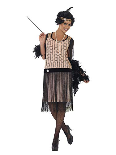 Smiffys Women's 1920's Coco Flapper Costume, Dress, Cigarette Holder, Necklace and Headpiece, 20's Razzle Dazzle, Serious Fun, Size 10-12, -