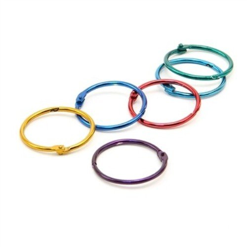 Hygloss Products Book Rings – 1-1/2 Inch Assorted Colored Steel Binder Rings, 12 Pack from Hygloss Products, Inc
