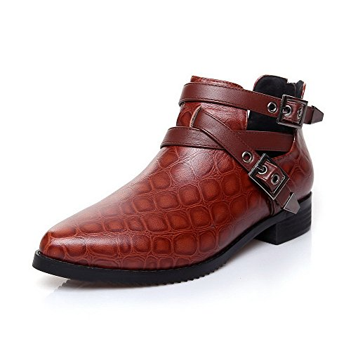Blend with Double Closed Zippers Toe Women's Brown Jugged WeiPoot Materials Checkered and Boot 5ABnHw