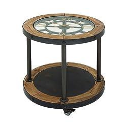 Benzara 44382 Antique Colonial Vintage Metal Wood Clock Side Table