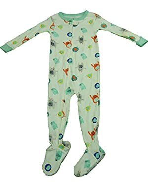 Carter's Unisex Toddler Size 18 Months Full Zip Footed Bodysuit Green & White