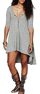 Urban CoCo Women's Half Sleeve High Low Loose Casual T-shirt Top Tee Dress