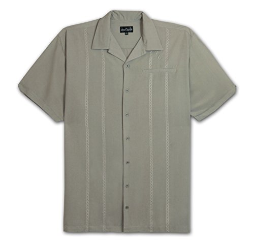 Camp Shirt Panel (After Dark by Falcon Bay Big and Tall Retro Panel Camp Shirt (Taupe 6X-T))