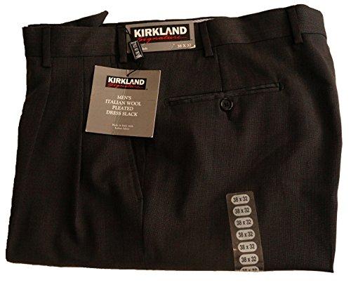Kirkland Mens Pleated Italian Wool Dress Slacks - Black (38x32)