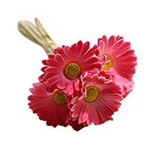 TONSEE Artificial Fake Flowers Gerbera Bouquet Floral Wedding Bouquet Party Home Decor (Hot pink)