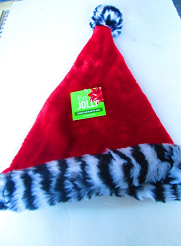 Santa Costume Walgreens (Red faux fur Adult Santa Hat with black/white stripe zebra plush band)