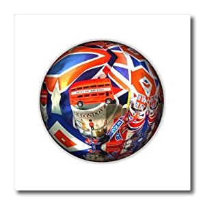 ht_174257_2 Florene - Decorative II - image of british icons on a ball in red white and blue - Iron on Heat Transfers - 6x6 Iron on Heat Transfer for White Material