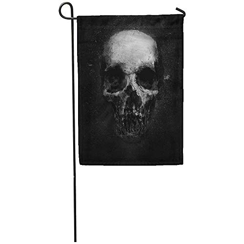 Garden Flag 12x18 Inches Print On Two Side Polyester Dark Scary Grunge Skull Black Design with Halloween Face Death Evil Monster Bone Home Yard Farm Fade Resistant Outdoor House Decor Flag