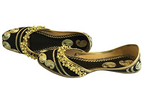 Mojari Jutti N Mano Plana Mujer Ghungroo tnico Khussa Style Zapatos Step Bailarina Punjabi Negro T4c1F1qP