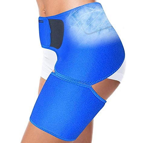 Hip Brace - Compression Groin Support Wrap Belt Sleeve w/Bonus Hot Cold Gel Insert Reusable Ice Pack for Sciatica Pain Relief Thigh Hamstring Quad Injuries SI Joint Brace for Men Women Flexagility