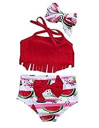 SUPEYA Toddler Baby Girl Tassel Halter Tops Watermelon Swimsuit Bikini Beachwear