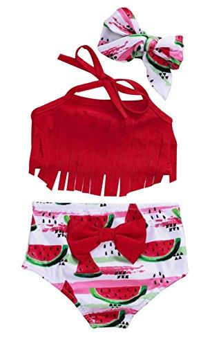 Baby Girl Tassel Halter Tops Watermelon Shorts 2Pcs Summer Swimsuit Bikini Beachwear Size 6-12 Months/Tag80 -