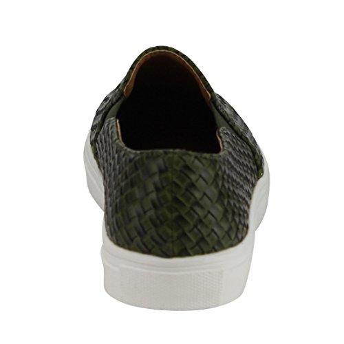 Beston De10 Donna Slip Elastico Intrecciato Su Scarpe Sneaker Piatte Taglia Unica Oliva
