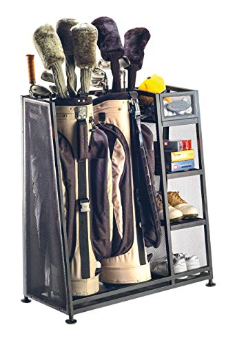Suncast Golf Bag Garage Organizer Rack  Golf Equipment Organizer Storage   Store Golf Bags Clubs and Accessories  Perfect for Garage Shed Basement