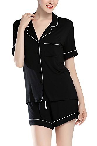 Dolamen Pijamas Camisón para mujer, Mujer Algodón Modal Corto Camisones Pijamas, lencería Collar de botón con botones Neglige Lencería Ropa de Dormir Negro