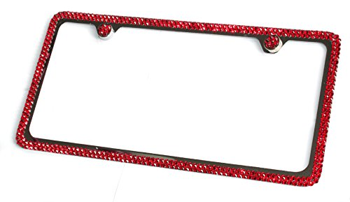 Hotblings 2 Rows RED Crystal made w/SWAROVSKI Elements Metal Sparkle Bling License Plate Frame & Caps set -  SW2R-06