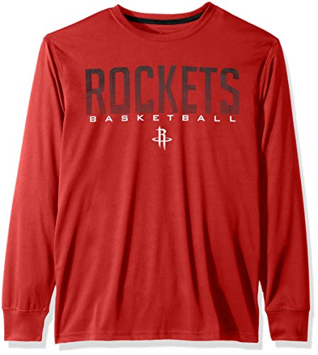 NBA Houston Rockets Men's T-Shirt Athletic Quick Dry Long Sleeve Tee Shirt, XX-Large, Red