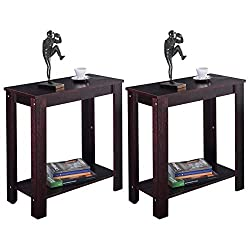 MasterPanel - 2PC Chair Side Table Coffee Sofa Wooden End Shelf Living Room Furniture Espresso #TP3228