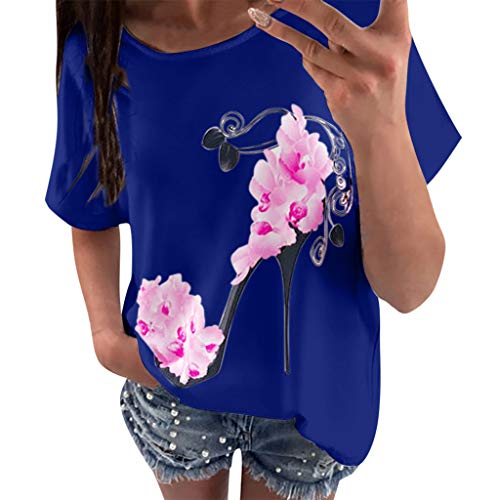 Women Short Sleeve Tops Summer Casual Blouse Fashion High Heels Printed Top T Shirt ()