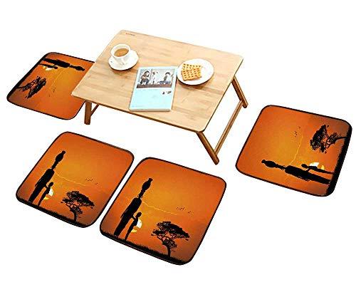 HuaWu-home Comfortable Chair Cushions Femme africaine et de l'enfant Dans le paysage africain Reuse can be Cleaned W17.5 x L17.5/4PCS Set