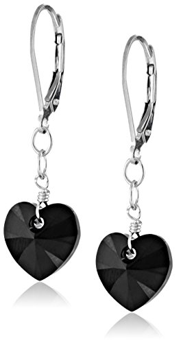 Sterling Silver Heart Earrings Shape (Sterling Silver Swarovski Elements Jet Color Heart Shape Drop Earrings)