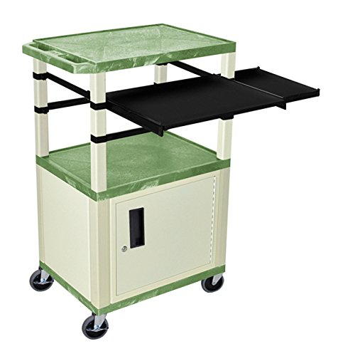 H WILSON WTPSLP42GC3E Presentation Station, Cabinet and Black Front, 3-Shelf and Putty Legs, Side Pull-Out Shelves, Tuffy, Green