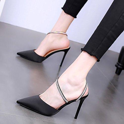 Sexy Las Aguja Solo Verano Trabajo Fiesta Zapatos Zapatos de Puntiagudo YMFIE de Rhinestone A de la Temperamento de Moda Zapatos señoras de Tacones OzPU6wqd