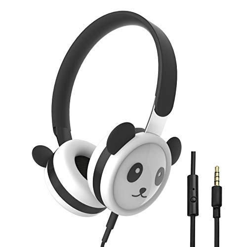 Panda Kids Headphones with Microphone, Stainless Steel Adjustable Headband, Food-Grade Silicone Skin, Volume Limited Wired On-Ear Headset for Children Boys & Girls