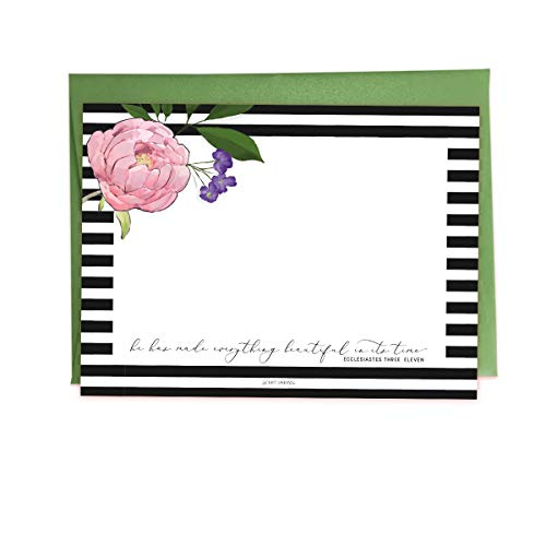 Luxurious Calligraphy and Watercolor Floral Notecard Set - Ecclesiastes 3:11 (10-Pack Christian Flat Blank Stationery with Colored Envelopes) (Green - Eccl 3 11)