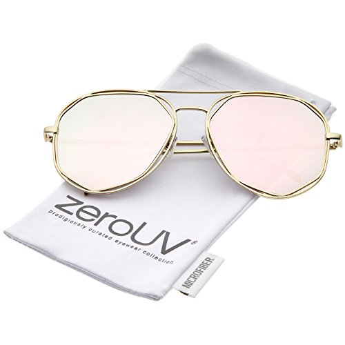 zeroUV - Geometric Hexagonal Metal Frame Colored Mirror Flat Lens Aviator Sunglasses 60mm (Gold / Pink - Contact Sunglass Lenses