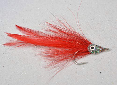 (3ct Red Racer Tarpon Saltwater Streamer Fly - 3/0 Mustad Signature Fly Hooks - Target Redfish, Snook, Barracuda, Shark, Tuna and Nearly All Other Saltwater Species)