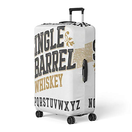 Pinbeam Luggage Cover Beer Single Barrel Whiskey Label Any in Vintage Travel Suitcase Cover Protector Baggage Case Fits 22-24 inches