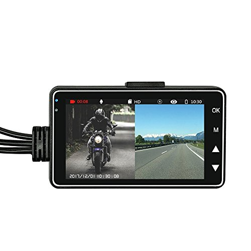 Dash Cam for Motorcycle, OXOQO Motorbike Recorder Recording Camera with Dual-track Front Rear Camera
