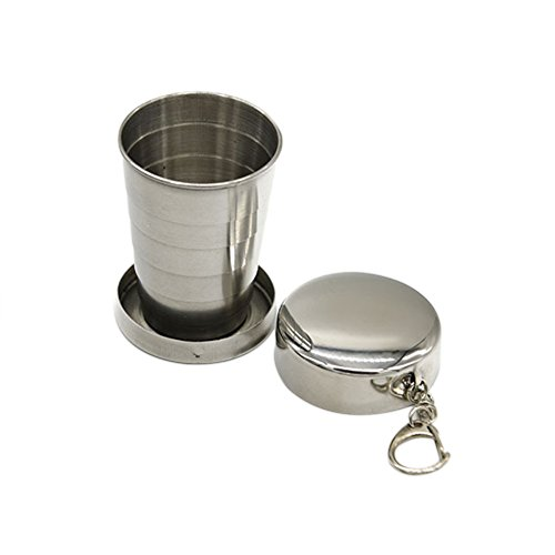Topbeu Portable Mini Stainless Steel Travel Folding Cup Three Fold Retractable Cup for Camping and Hiking