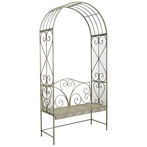OSE-Arco de jardín de metal, color verde envejecido con banco de 2 ...