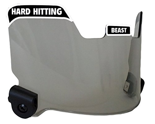 EliteTek Football Eye-Shield Visor (Smoke Tinted) - Hard Hitting No Quitting (Black)