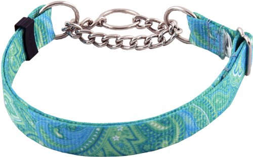 Country Brook Design Green Paisley Half Check Dog Collars - Large