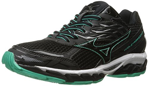 Mizuno Women's Wave Paradox 3 Running Shoe, Black-Electric Green, 6.5 B US (Best Mizuno Running Shoes For Flat Feet)