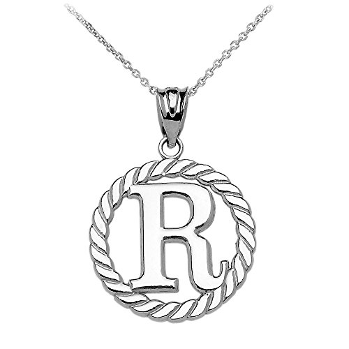 """Collier Femme Pendentif 14 Ct Or Blanc """"R"""" Initiale À Corde Cercle (Livré avec une 45cm Chaîne)"""