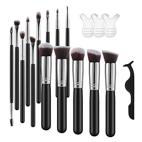 (SIKAKI Makeup Brushes Set 14PCS Makeup Brushes Foundation Powder Cosmetics Brushes with 3PCS Y Shape Eyelash Brushes and 1PC Eyelash Tweezers Silver)